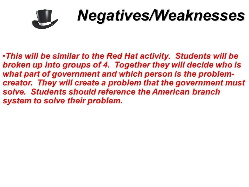 This will be similar to the Red Hat activity. Students will be broken up into groups of 4.