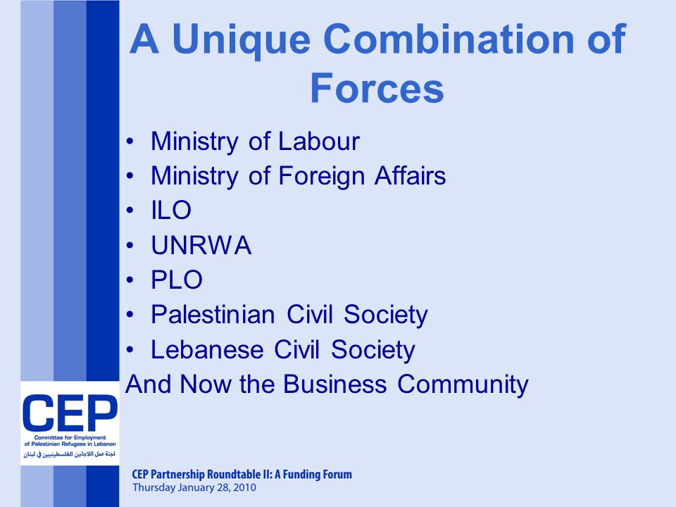 A Unique Combination of Forces Ministry of Labour Ministry of Foreign Affairs ILO UNRWA PLO Palestinian Civil Society Lebanese Civil Society And Now the Business Community
