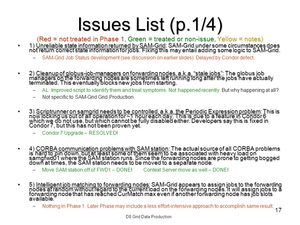 D0 Grid Data Production 17 Issues List (p.1/4) (Red = not treated in Phase 1, Green = treated or non-issue, Yellow = notes) 1) Unreliable state information returned by SAM-Grid: SAM-Grid under some circumstances does not return correct state information for jobs.