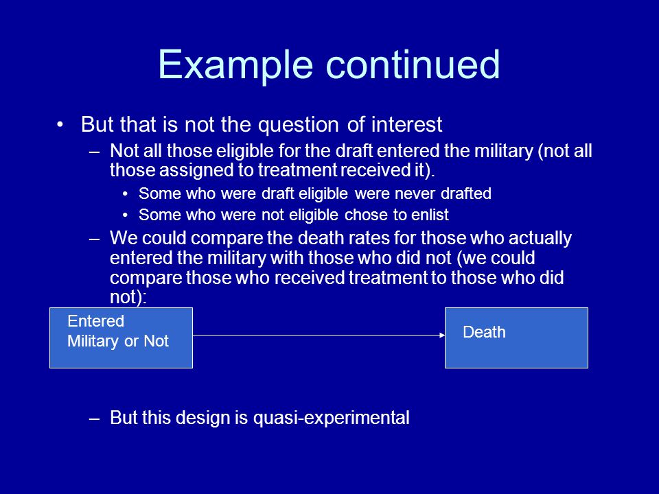 Example continued But that is not the question of interest –Not all those eligible for the draft entered the military (not all those assigned to treat