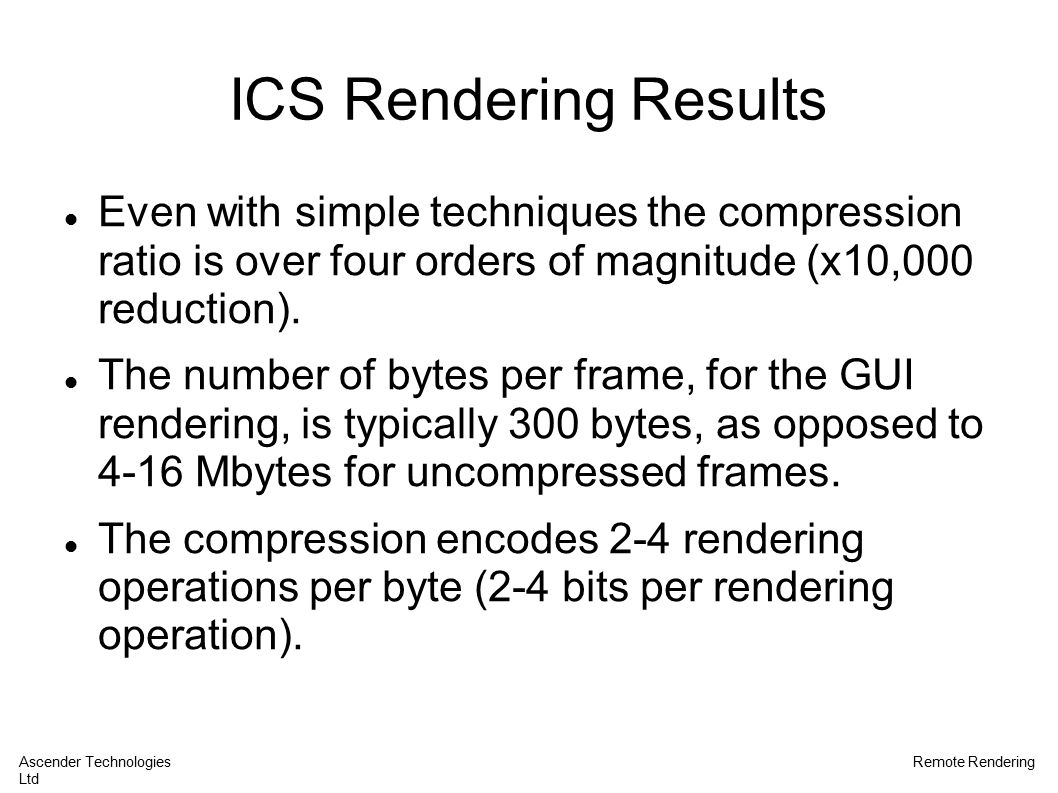 ICS Rendering Results Even with simple techniques the compression ratio is over four orders of magnitude (x10,000 reduction).