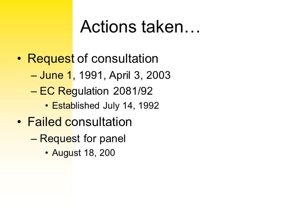 Actions taken… Request of consultation –June 1, 1991, April 3, 2003 –EC Regulation 2081/92 Established July 14, 1992 Failed consultation –Request for