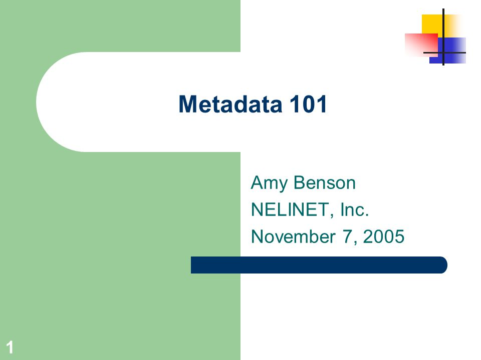 1 Metadata 101 Amy Benson NELINET, Inc. November 7, 2005