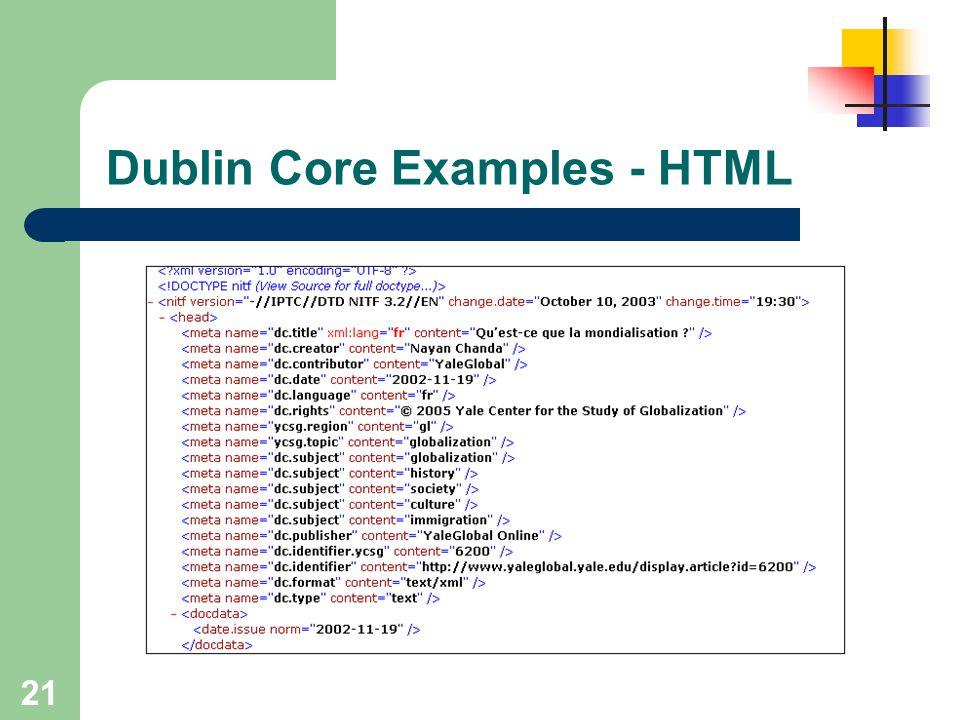 21 Dublin Core Examples - HTML