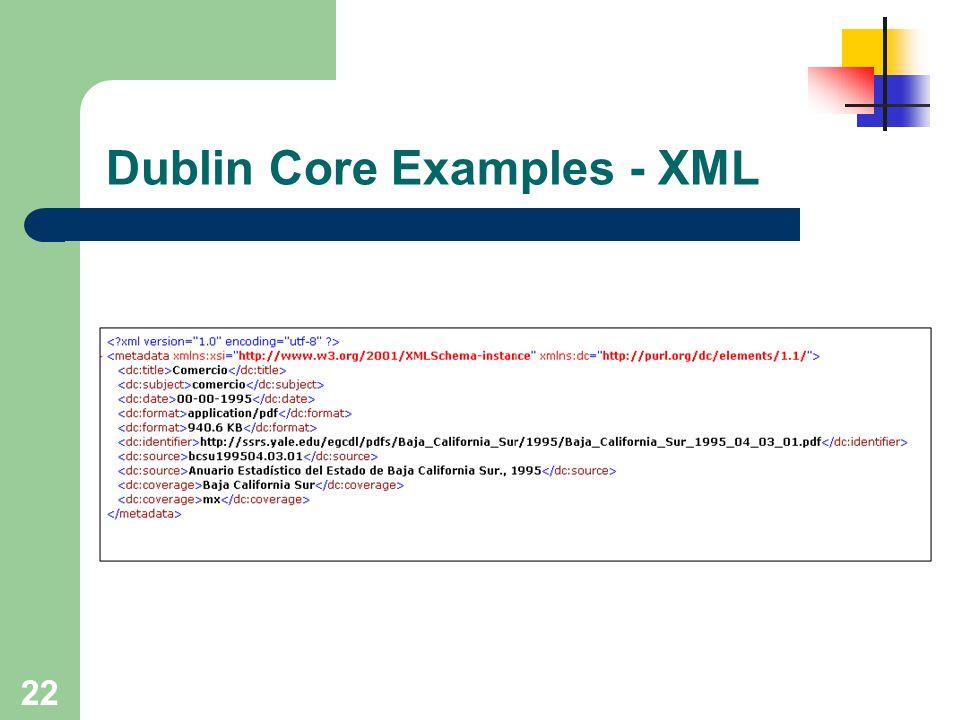 22 Dublin Core Examples - XML