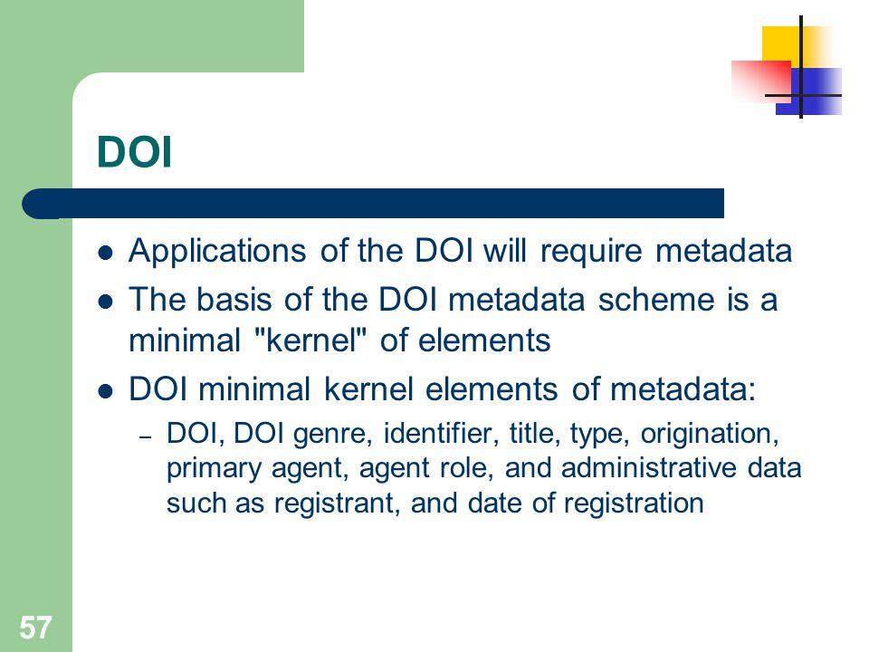 57 DOI Applications of the DOI will require metadata The basis of the DOI metadata scheme is a minimal