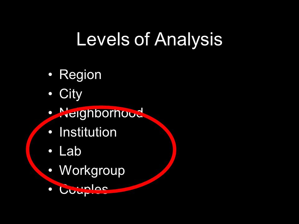 Levels of Analysis Region City Neighborhood Institution Lab Workgroup Couples