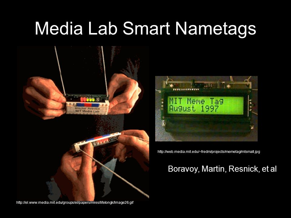 Media Lab Smart Nametags http://web.media.mit.edu/~fredm/projects/memetag/mtsmall.jpg http://el.www.media.mit.edu/groups/el/papers/mres/lifelongk/Image26.gif Boravoy, Martin, Resnick, et al