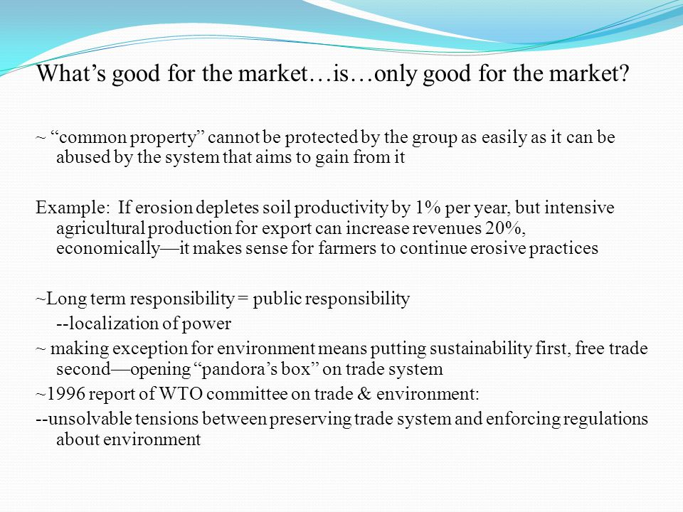 What's good for the market…is…only good for the market.