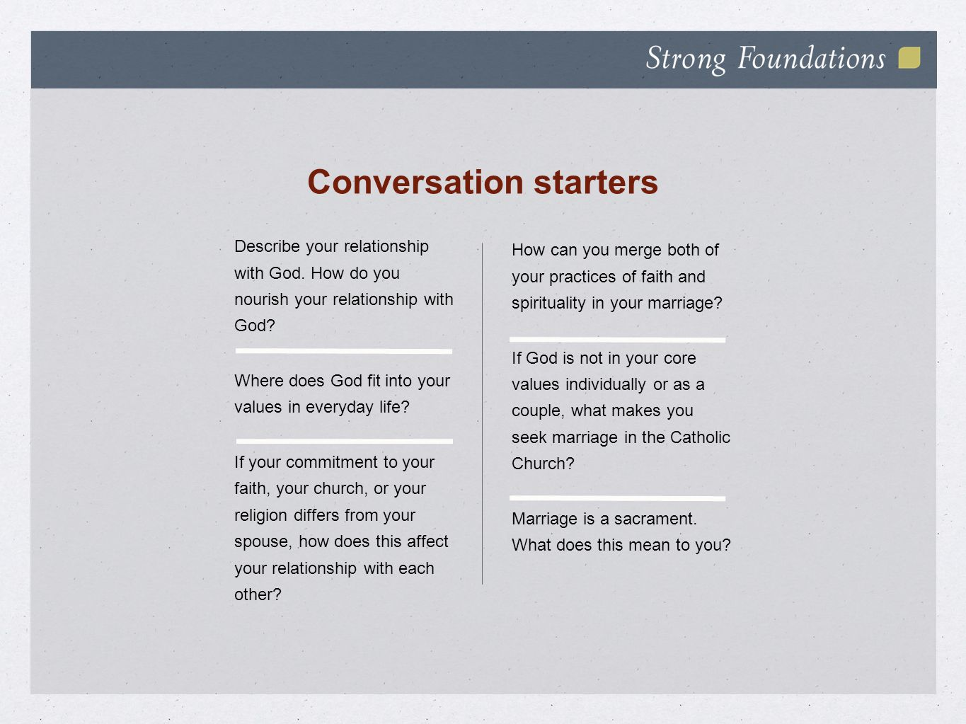 Conversation starters Describe your relationship with God.