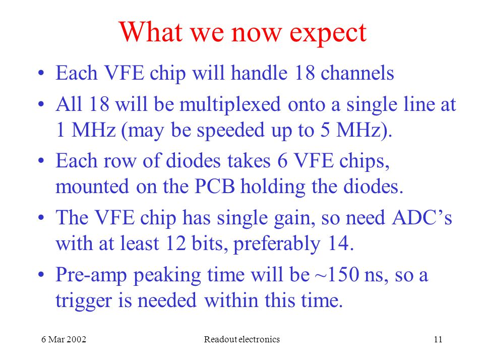 6 Mar 2002Readout electronics11 What we now expect Each VFE chip will handle 18 channels All 18 will be multiplexed onto a single line at 1 MHz (may be speeded up to 5 MHz).
