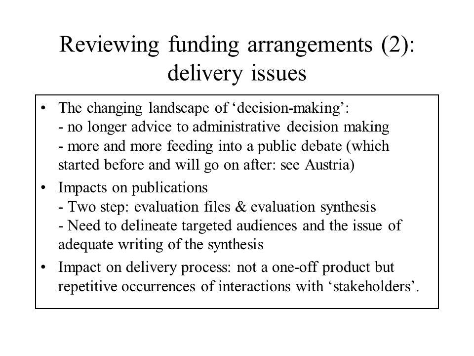 Evaluating portfolios of programmes The panel based model (e.g.