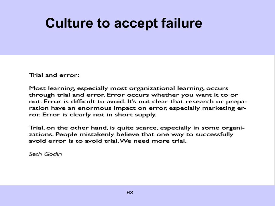 HS Culture to accept failure
