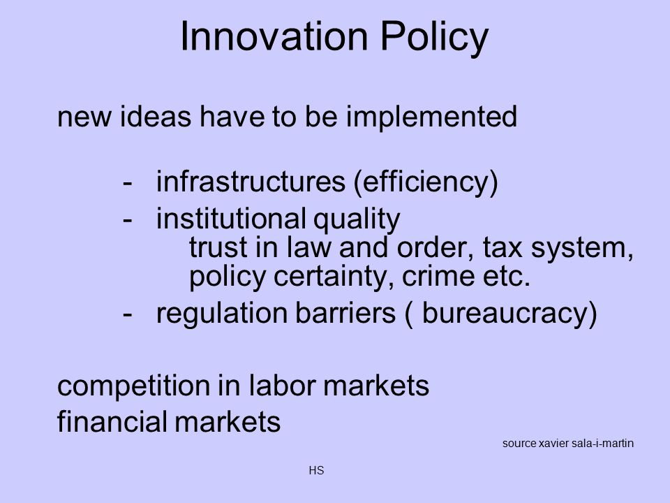 HS Innovation Policy new ideas have to be implemented -infrastructures (efficiency) -institutional quality trust in law and order, tax system, policy certainty, crime etc.