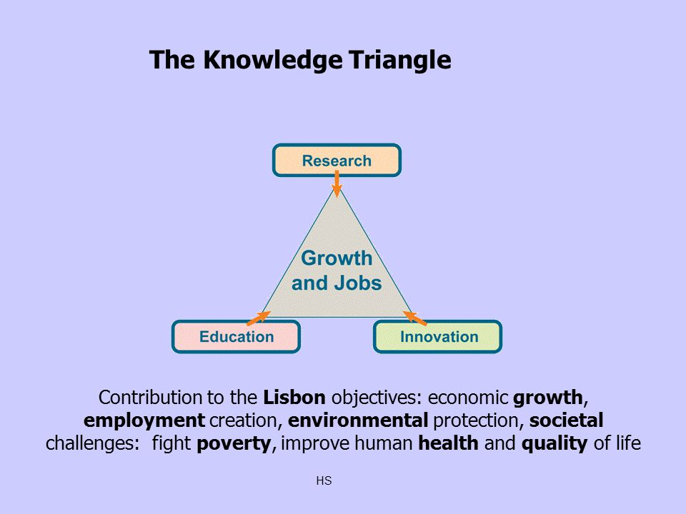 HS Contribution to the Lisbon objectives: economic growth, employment creation, environmental protection, societal challenges: fight poverty, improve human health and quality of life ‏ The Knowledge Triangle