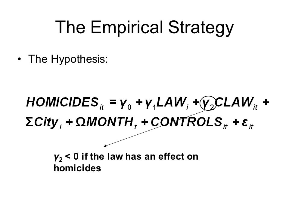 The Empirical Strategy The Hypothesis: γ 2 < 0 if the law has an effect on homicides