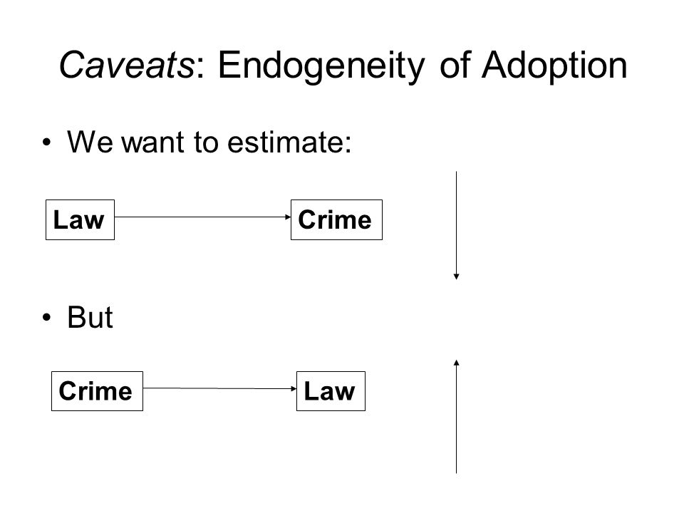 Caveats: Endogeneity of Adoption We want to estimate: But LawCrime Law