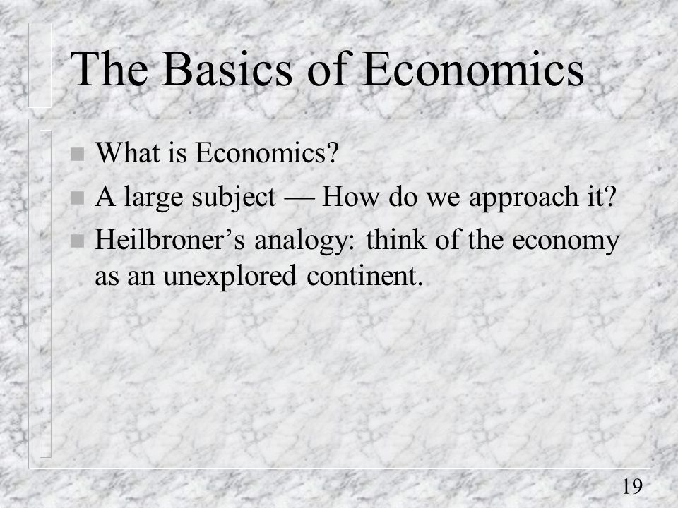 19 The Basics of Economics n What is Economics. n A large subject — How do we approach it.