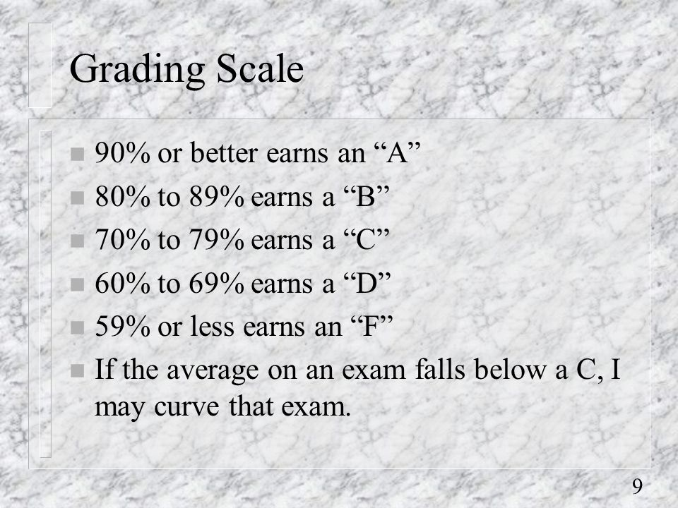 9 Grading Scale n 90% or better earns an A n 80% to 89% earns a B n 70% to 79% earns a C n 60% to 69% earns a D n 59% or less earns an F n If the average on an exam falls below a C, I may curve that exam.