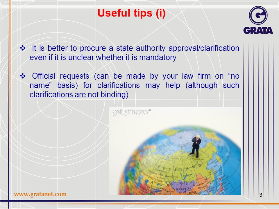 4 Useful tips (ii)  It is recommended to meet with senior state officials to check their perception of the proposed transaction  International agreements (bilateral investment protection treaties provide for a non-discrimination clause)  To be on the safe side notarization is recommended