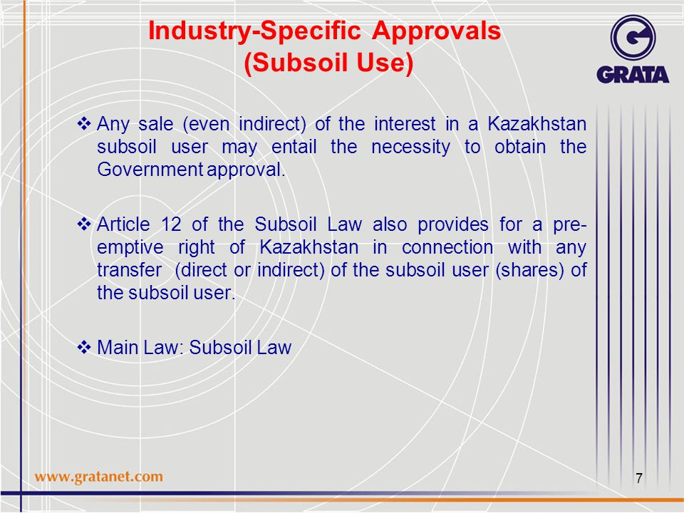 8 Industry-Specific Approvals (Finance)  Prior National Bank consent for large participant status in a bank or insurance company or pension fund is required for the direct or indirect acquisition of ≥10% of the voting shares (i.e., control) in a company  Companies incorporated in black-listed offshore jurisdictions cannot be shareholders of a Kazakh bank etc.