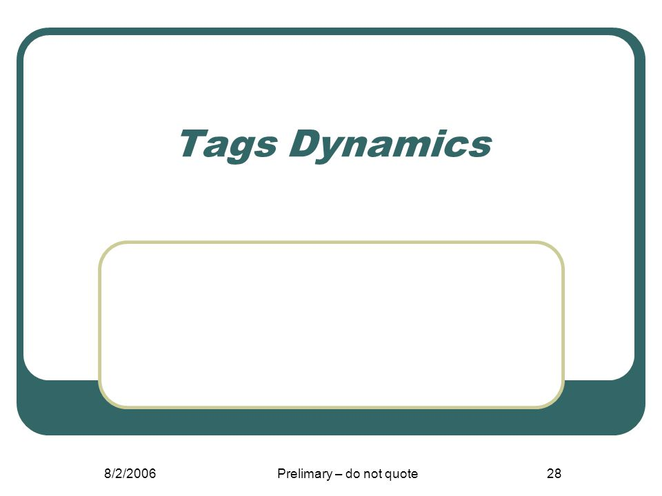 8/2/2006Prelimary – do not quote28 Tags Dynamics