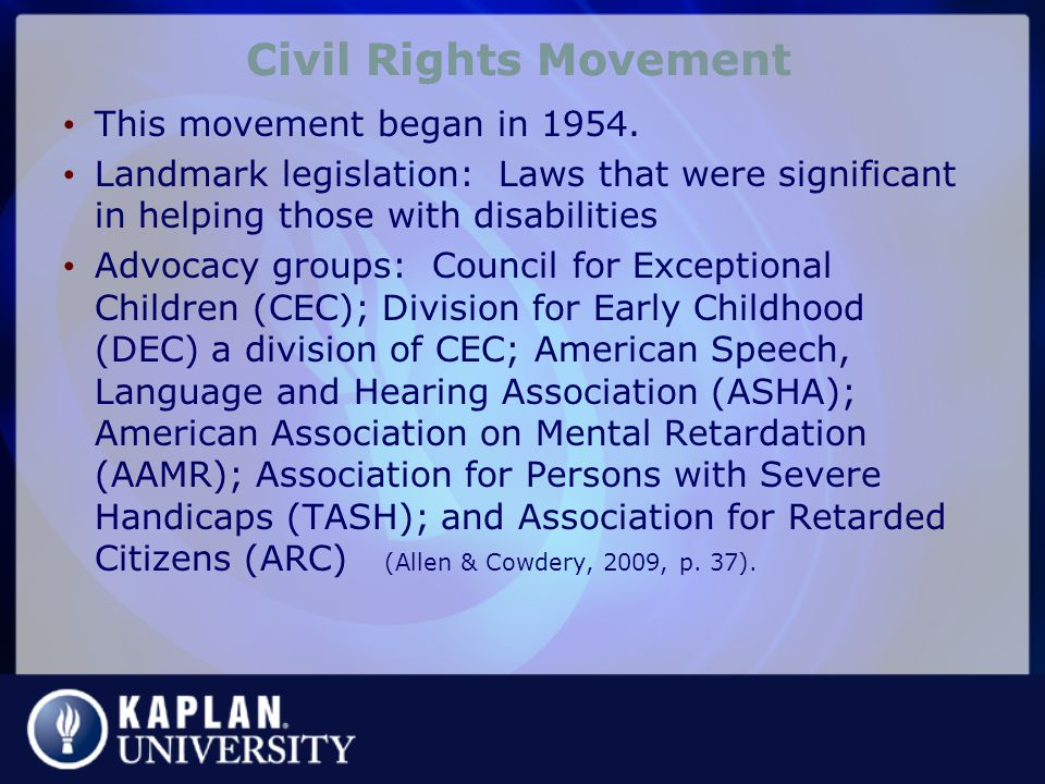 Civil Rights Movement This movement began in 1954.