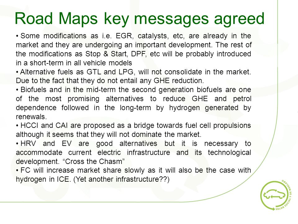 Road Maps key messages agreed Some modifications as i.e.