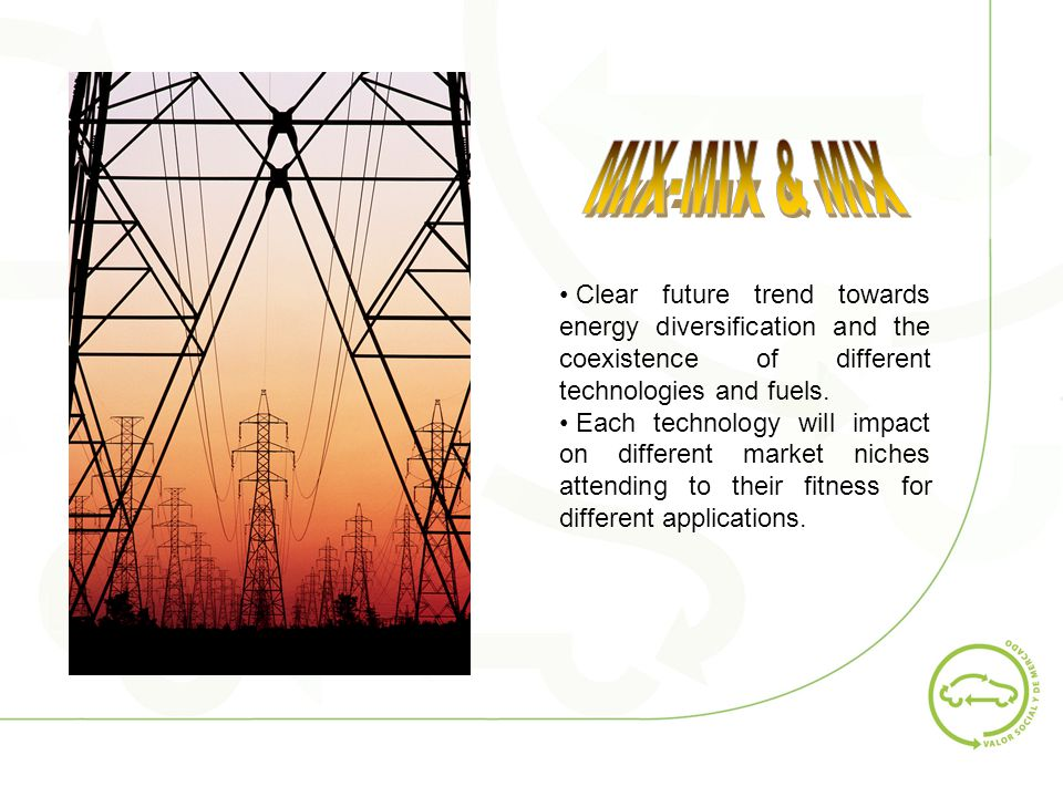 Clear future trend towards energy diversification and the coexistence of different technologies and fuels.