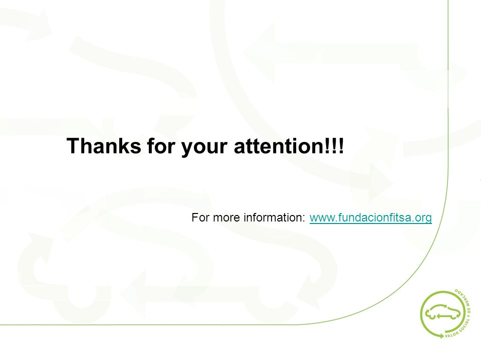Thanks for your attention!!! For more information: www.fundacionfitsa.orgwww.fundacionfitsa.org