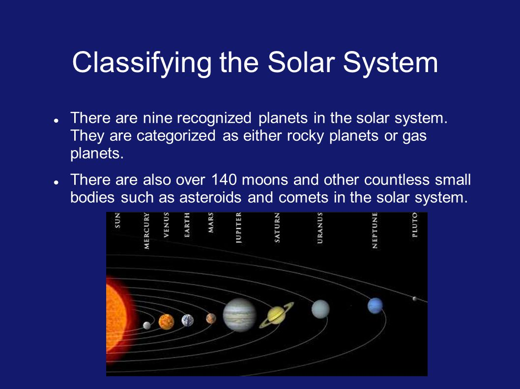 Classifying the Solar System There are nine recognized planets in the solar system.