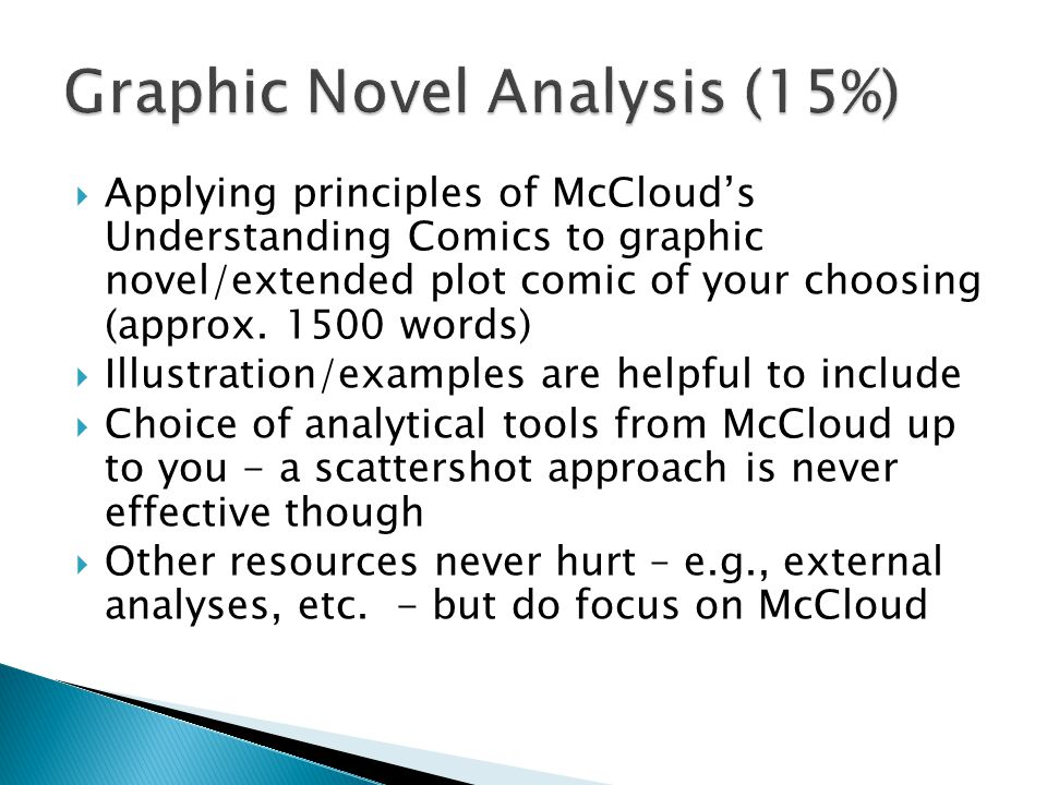  Applying principles of McCloud's Understanding Comics to graphic novel/extended plot comic of your choosing (approx.