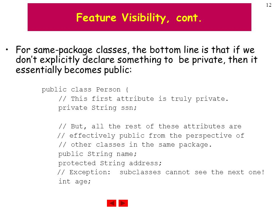 12 Feature Visibility, cont.
