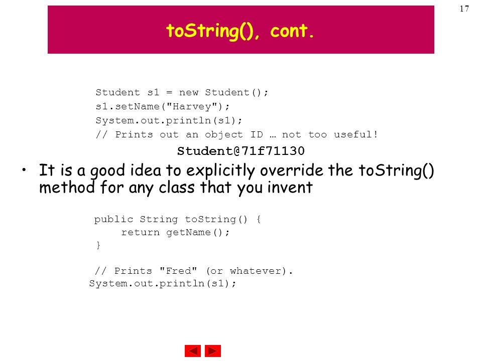 17 toString(), cont.
