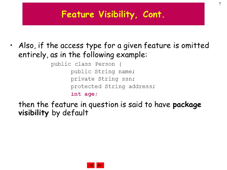 7 Feature Visibility, Cont.