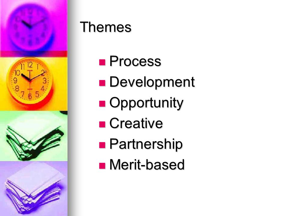 Themes Process Process Development Development Opportunity Opportunity Creative Creative Partnership Partnership Merit-based Merit-based