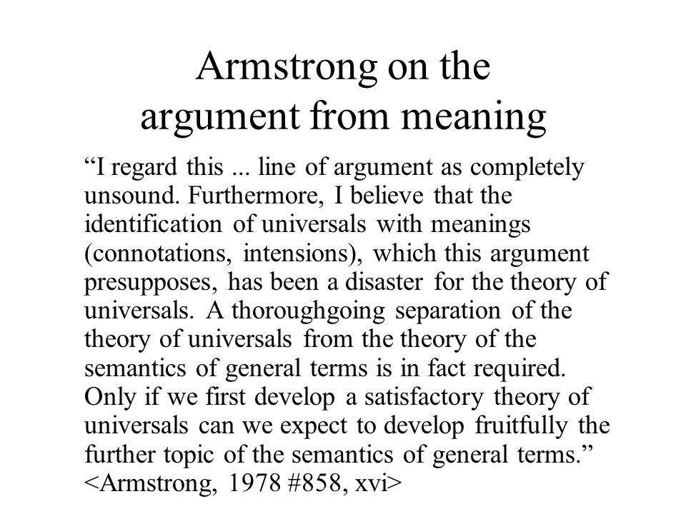 Armstrong on the argument from meaning I regard this...