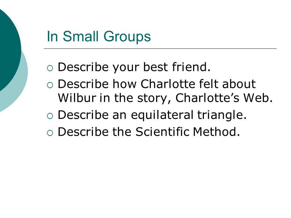 In Small Groups  Describe your best friend.