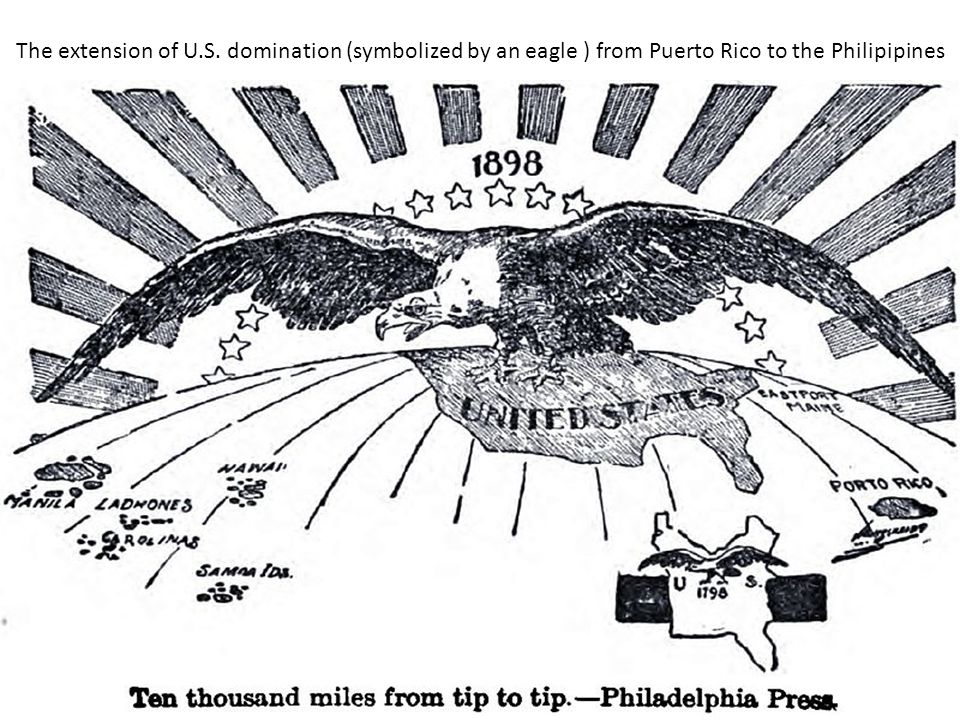 The extension of U.S. domination (symbolized by an eagle ) from Puerto Rico to the Philipipines
