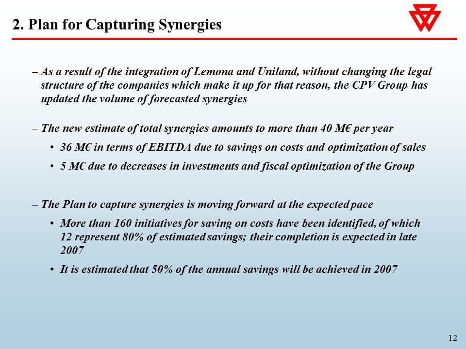 12 –As a result of the integration of Lemona and Uniland, without changing the legal structure of the companies which make it up for that reason, the CPV Group has updated the volume of forecasted synergies –The new estimate of total synergies amounts to more than 40 M€ per year 36 M€ in terms of EBITDA due to savings on costs and optimization of sales 5 M€ due to decreases in investments and fiscal optimization of the Group –The Plan to capture synergies is moving forward at the expected pace More than 160 initiatives for saving on costs have been identified, of which 12 represent 80% of estimated savings; their completion is expected in late 2007 It is estimated that 50% of the annual savings will be achieved in 2007 2.