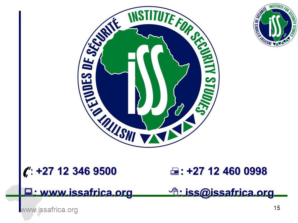 www.issafrica.org 15  : www.issafrica.org  : iss@issafrica.org  : +27 12 346 9500  : +27 12 460 0998