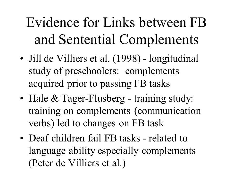 Evidence for Links between FB and Sentential Complements Jill de Villiers et al. (1998) - longitudinal study of preschoolers: complements acquired pri