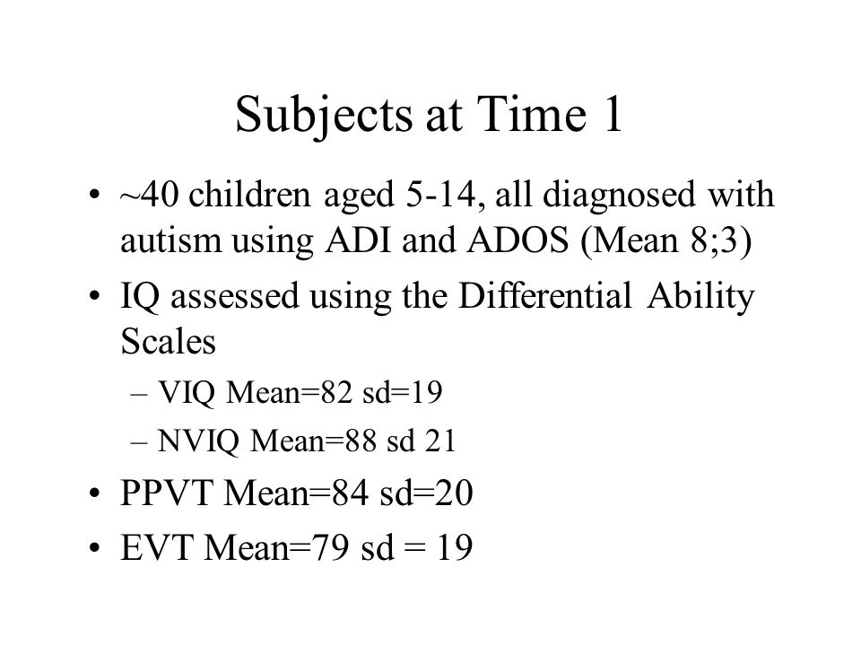 Subjects at Time 1 ~40 children aged 5-14, all diagnosed with autism using ADI and ADOS (Mean 8;3) IQ assessed using the Differential Ability Scales –VIQ Mean=82 sd=19 –NVIQ Mean=88 sd 21 PPVT Mean=84 sd=20 EVT Mean=79 sd = 19