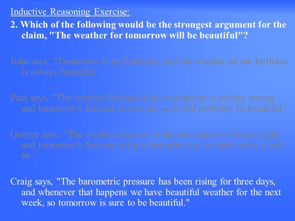 Inductive Reasoning Exercise: 2.