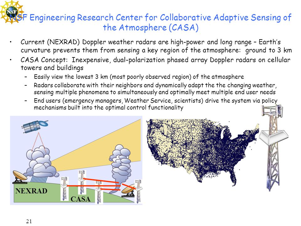 21 NSF Engineering Research Center for Collaborative Adaptive Sensing of the Atmosphere (CASA) Current (NEXRAD) Doppler weather radars are high-power and long range – Earth's curvature prevents them from sensing a key region of the atmosphere: ground to 3 km CASA Concept: Inexpensive, dual-polarization phased array Doppler radars on cellular towers and buildings –Easily view the lowest 3 km (most poorly observed region) of the atmosphere –Radars collaborate with their neighbors and dynamically adapt the the changing weather, sensing multiple phenomena to simultaneously and optimally meet multiple end user needs –End users (emergency managers, Weather Service, scientists) drive the system via policy mechanisms built into the optimal control functionality NEXRAD CASA