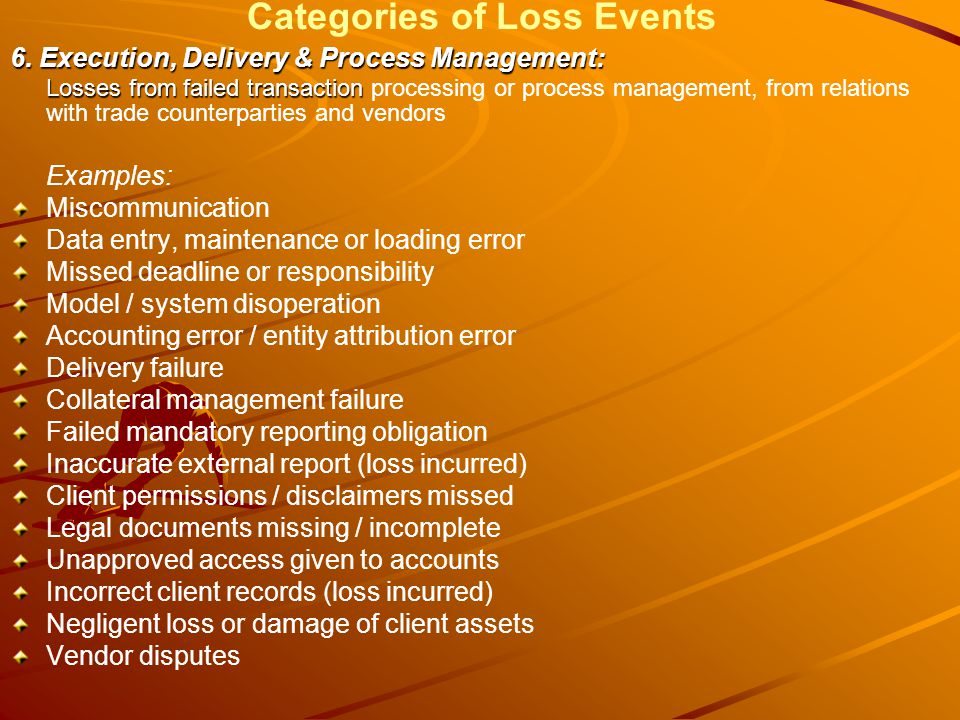 Categories of Loss Events 6.