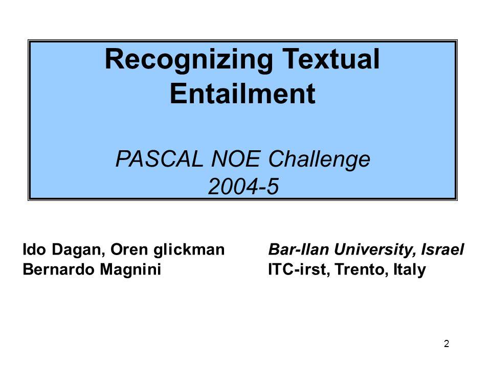 2 Recognizing Textual Entailment PASCAL NOE Challenge 2004-5 Ido Dagan, Oren glickmanBar-Ilan University, Israel Bernardo Magnini ITC-irst, Trento, It