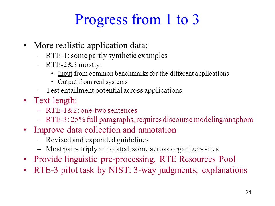 21 Progress from 1 to 3 More realistic application data: –RTE-1: some partly synthetic examples –RTE-2&3 mostly: Input from common benchmarks for the