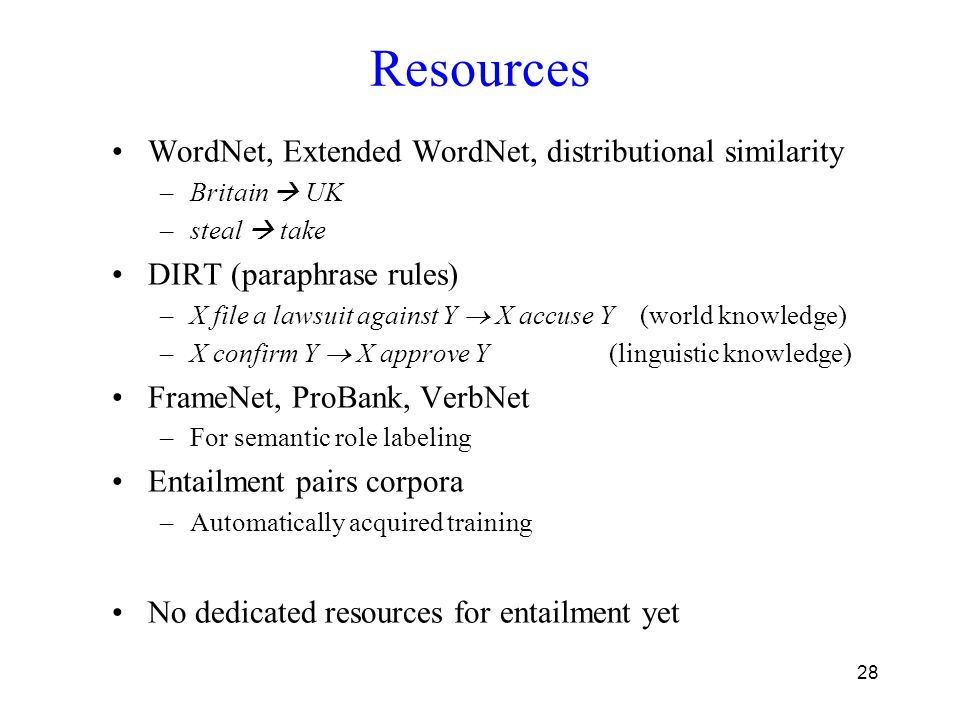 28 Resources WordNet, Extended WordNet, distributional similarity –Britain  UK –steal  take DIRT (paraphrase rules) –X file a lawsuit against Y  X