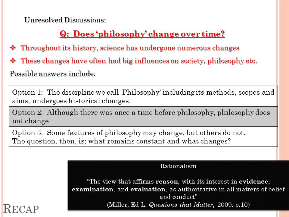R ECAP Unresolved Discussions: Q: Does 'philosophy' change over time.